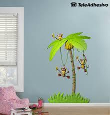 kinderzimmer wandtattoo drei affen in einer palme wandtatoo
