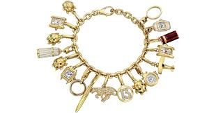 cartier bracelet charm images Lyst cartier vintage 18k yellow gold charm bracelet in yellow jpeg