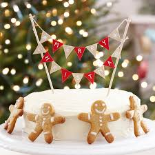 Cheap Christmas Cake Decorations Uk by Christmas Cake Bunting Decoration Festive Cake Toppers The