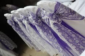 Purple Chair Sashes Posh Chair Covers And Bows Cadbury Purple U0026 Lace Sashes A Winning