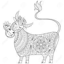 coloring page with cow zenart stylized hand drawing milker