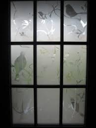 stenciled spray painted front door window i