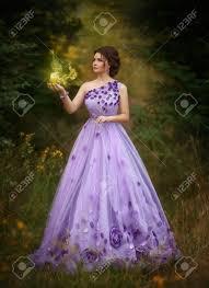 light purple long dress lady in luxurious lush purple long dress the fairytale princess