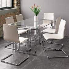 Glass And Chrome Dining Table Glass And Iron Dining Table Foter