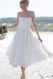 coast wedding dresses simple strapless a line tea length ivory wedding