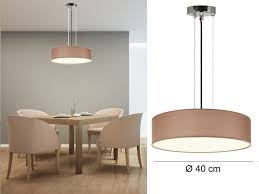 Wohnzimmer Lampen Ebay Design Pendelleuchte Mit Textil Schirm Rund Braun ø40cm 3 Flammig