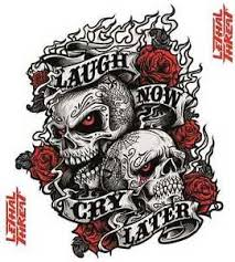lethal threat flash prints skull roses laugh now cry