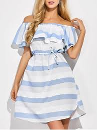 ruffles off the shoulder striped dress blue and white casual