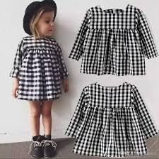 2017 ins black plaid dress 2017 sleeve black and white