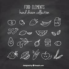 imagenes gratis de frutas y verduras set de bocetos de frutas y verduras con efecto pizarra descargar