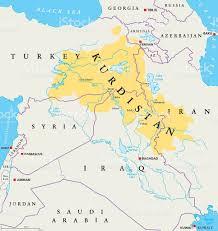 World Map Iran by Kurdistan Kurdish Lands Political Map Stock Vector Art 579766618
