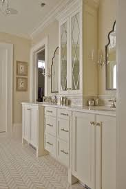 11 best custom bathrooms images on pinterest custom bathrooms custom built master bathroom vanity featuring his and her sinks cut glass upper cabinet doors