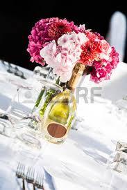 Hydrangea Centerpiece A White Crisp Decorated Table With A Pink Hydrangea Centerpiece