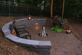 Patio Half Wall Half Circle Retaining Wall And Fire Pit Rustic Minneapolis