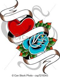 heart and rose tattoo drawings search clipart illustration and