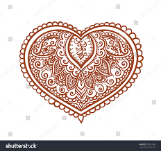 lace heart decorative ethnic henna tattoo stock vector 332051060