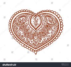 lace heart decorative ethnic henna tattoo stock vector 332051060