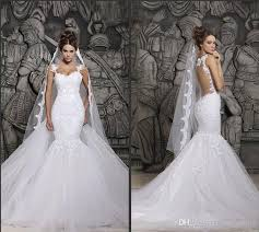wedding dress sheer straps cheap in stock berta sheer back mermaid wedding dresses