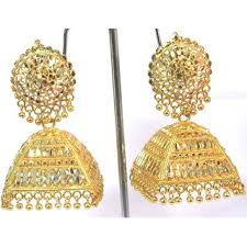 jhumka earrings online golden dulhan wedding jhumka earring buy golden dulhan wedding