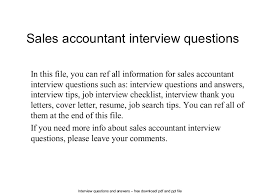 resume sles for accounting clerk interview questions salesaccountantinterviewquestions 140619222513 phpapp01 thumbnail 4 jpg cb 1403223426