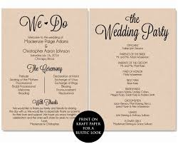 rustic wedding program template ceremony program templates endo re enhance dental co