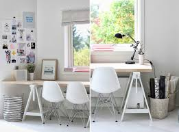 Home Office Wood Desk Home Offices Featuring Trestle Tables As Desks