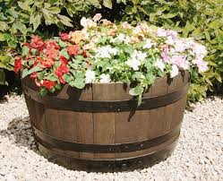 Half Barrel Planters by Flat Back Quarter Oak Barrel Planter 49 99