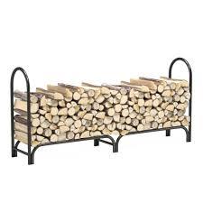 8 foot heavy duty firewood log rack outdoor firewood holder in black