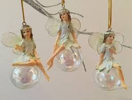 3x iridescent fairy christmas tree decorations gisela graham
