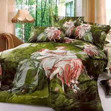 Forest Bedding Sets European Style 3d Painting Noblewoman And Princess Green