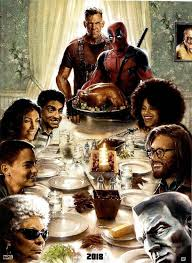 deadpool 2 thanksgiving poster riffs on norman rockwell