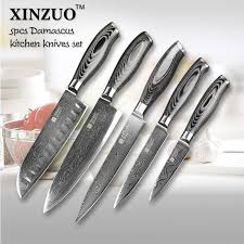 japanese damascus kitchen knives 5 pcs kitchen knives set 73 layers japanese vg10 damascus steel