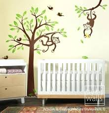 Nursery Monkey Wall Decals Monkey Wall Decor For Nursery Monkey Tree Wall Decal 2 Monkeys