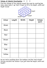 volume of cuboids investigation differentiated by durhampotter