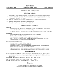 Prep Cook Duties For Resume Restaurant Server Resume Waiter Functional Food Service