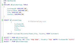 temporary table variables in sql server