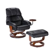 amazon com bonded leather recliner and ottoman black kitchen