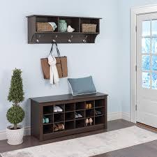 bench entryway shelf and bench prepac sonoma entryway wall shelf