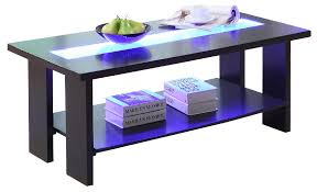 furniture america raveena led light glass espresso coffee table