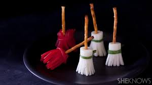 Halloween Treats And Snacks Sweet And Savory Witches U0027 Brooms Are Easy Halloween Snacks
