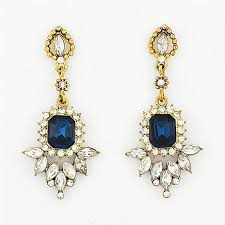 Sparkly Chandelier Earrings Crystal Fringed Drops Navy Stone And Rhinestone Earrings By