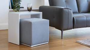 white gloss side table duo white gloss side table and silver grey fabric stool set stools