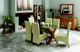 lyon oak glass dining table u0026 6 ivory wing back faux leather chairs