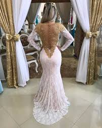 wholesale white and gold long sleeve prom dress o neck see through