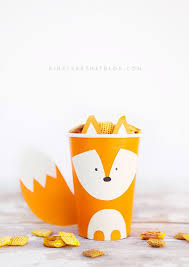 woodland creature cup crafts classroom treats thanksgiving table