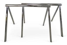 iron horse table base mid century modern chrome saw horse desk dining table base modernism