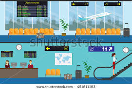 airport passenger terminal waiting room international stock vector