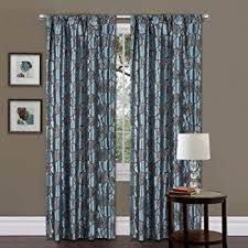 Blue And Brown Curtains Anaya Window Curtain Blue Brown 63 Panel Home Kitchen