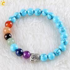 hand made bracelet images 2018 csja 7 chakra handmade bracelet meditation 8mm blue turquoise jpg