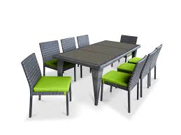 9 piece wicker outdoor patio dining set gray wicker lime green